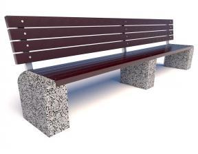 Скамейка бетонная Евро 1 Лайн со спинкой