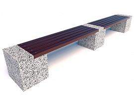 Скамейка бетонная  Евро 2 Лайн с фактурой