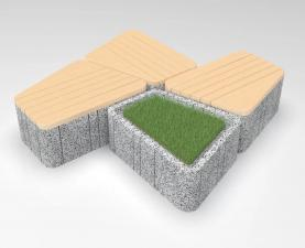 кСкамейка бетонная UNI RSL