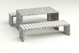 Комплект бетонный  уличный стол и стулья Сочи